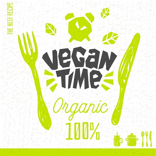 Vegan Time Logo Poster Vector