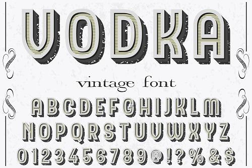 Vodka Sample Vintage Font Vector