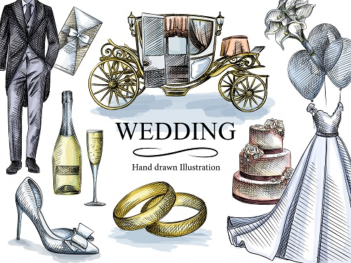 Wedding Decoration Design Vector