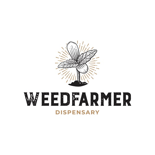 Weed Farmer Dispensary Rustic Hand Drawn Logo Template Vector
