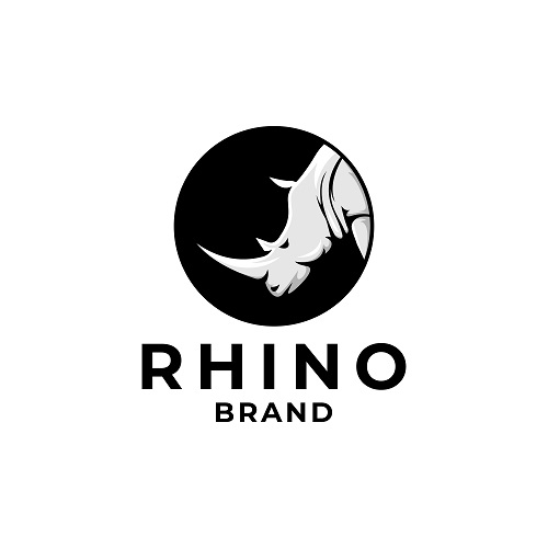 Wild Rhino Circle Brand Logo Template Vector