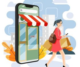 Woman Finishes Her Shopping Vector