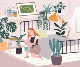 Woman Water Her Plants Vector