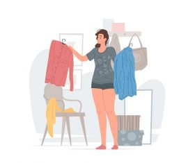 Young Woman Choosing Her Clothes Vector