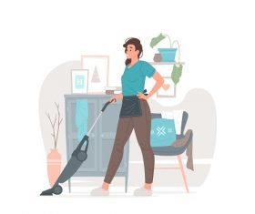 Young Woman Cleaning Vector