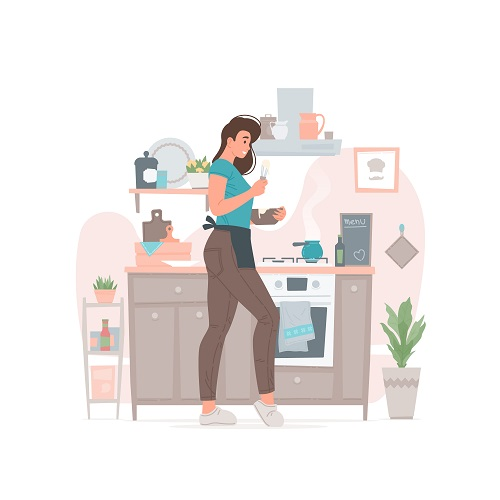 Young Woman Cooking Vector