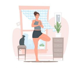 Young Woman Doing a Yoga Vector