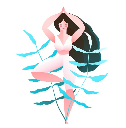 Young Woman In Tree Doing Yoga Vector