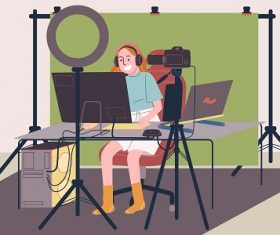 Young Woman Streaming Online Vector