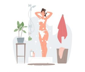 Young Woman Taking A Shower Vector