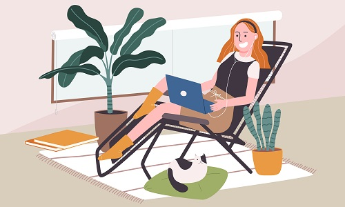 Young Woman Using Her Laptop Vector