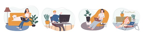 Young Woman home Activity Vector