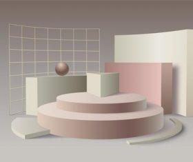 3d effect geometric background vector