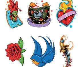 Animal heart shaped flower tattoos logo vector