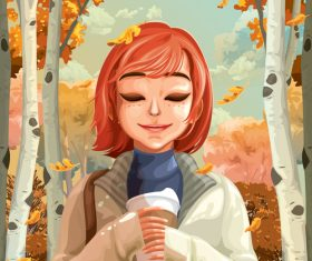 Autumn beautiful girl vector