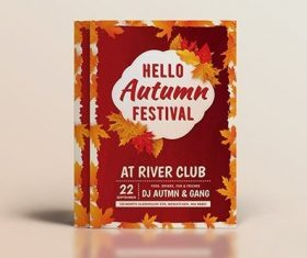 Autumn maple leaf cover flyer vector
