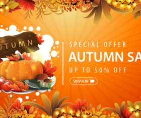 Autumn vegetables sale banner vector
