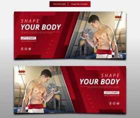 Banner shape your body fitness template vector
