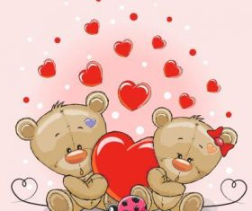 Bear and heart cartoon background vector