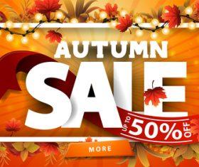 Beautiful decoration autumn sale poster vector