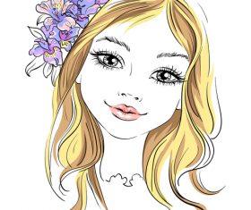 Beautiful girl portrait vector