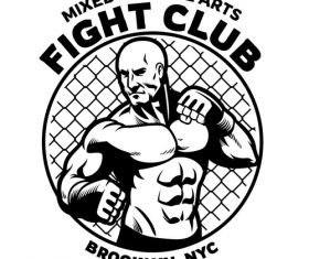 Black and white mma fight club logo vector