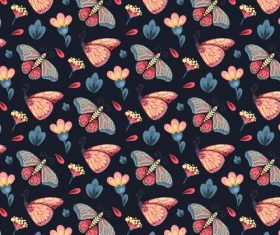 Black background floral butterfly pattern vector