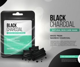 Black charcoal facial mask advertising vector