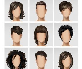 Black hair male and female face vector