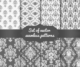 Black white background flower seamless pattern vector