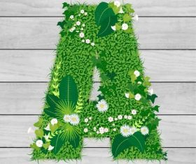 Blooming grass letter A shape vector