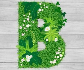 Blooming grass letter B shape vector