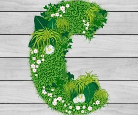 Blooming grass letter C shape vector