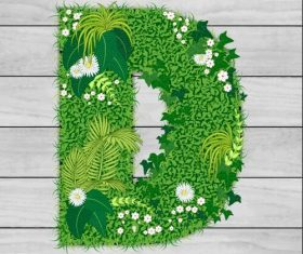Blooming grass letter D shape vector