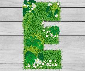 Blooming grass letter E shape vector