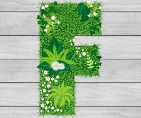 Blooming grass letter F shape vector