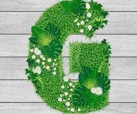 Blooming grass letter G shape vector