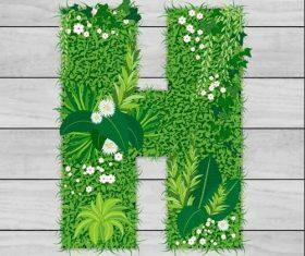 Blooming grass letter H shape vector