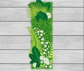 Blooming grass letter I shape vector