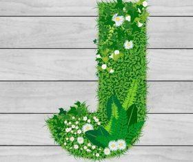 Blooming grass letter J shape vector