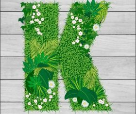 Blooming grass letter K shape vector