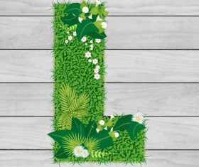 Blooming grass letter L shape vector