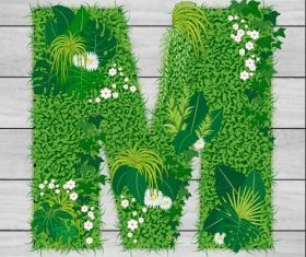 Blooming grass letter M shape vector