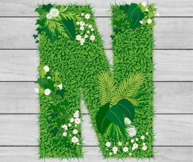 Blooming grass letter N shape vector