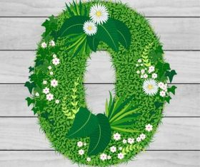 Blooming grass letter O shape vector