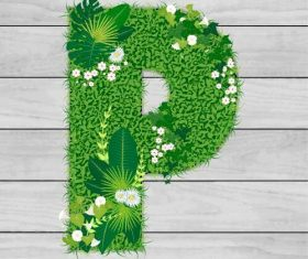 Blooming grass letter P shape vector