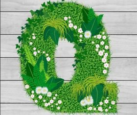 Blooming grass letter Q shape vector