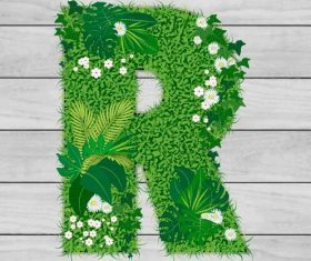 Blooming grass letter R shape vector