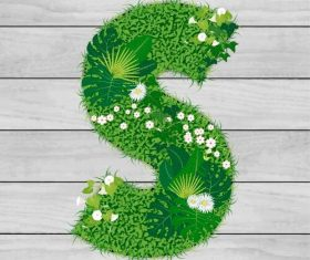 Blooming grass letter S shape vector