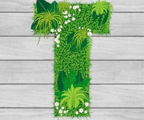 Blooming grass letter T shape vector